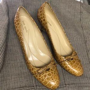KATE SPADE Tan Lizard Embossed Heels